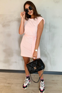 LORELLE Pink Shoulder Pad Belted Dress