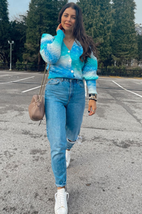 Ciara Turquoise Knitted Button Puff Shoulder cardigan