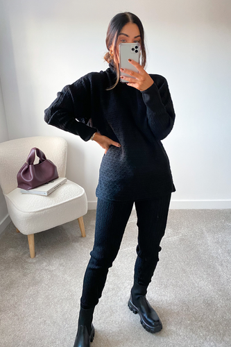 CHARLOTTE Black Cable Knit Turtle Neck Loungewear Set