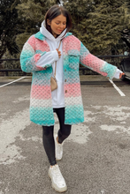 Load image into Gallery viewer, Kiara Sky Blue Knitted Button Up Long Shacket