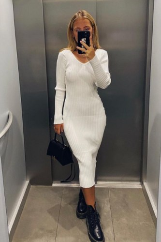 LILLIA White Long Sleeve Ribbed Bodycon Maxi Dress