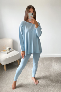 IEVA Powder Blue  Longsleeve Split Side Loungewear set