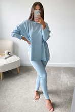 Load image into Gallery viewer, IEVA Powder Blue  Longsleeve Split Side Loungewear set