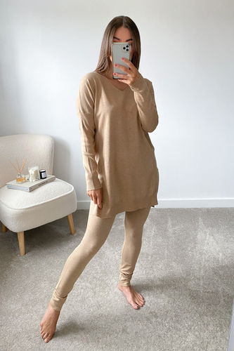 ANDREA Camel Longsleeve Split Side Loungewear set