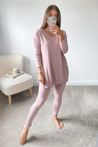 ANDREA Baby Pink Longsleeve Split Side Loungewear set