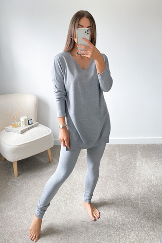 ANDREA Grey Longsleeve Split Side Loungewear set