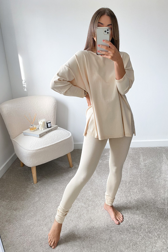 IEVA Cream Longsleeve Split Side Loungewear set