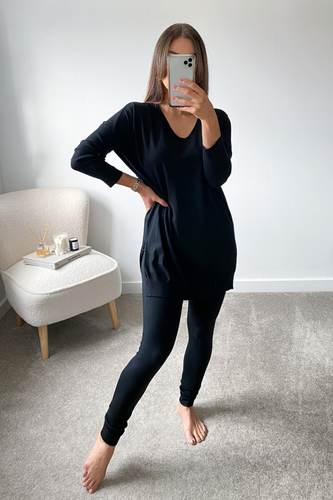 ANDREA Black Longsleeve Split Side Loungewear set