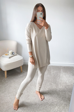 Load image into Gallery viewer, ANDREA Beige Longsleeve Split Side Loungewear set
