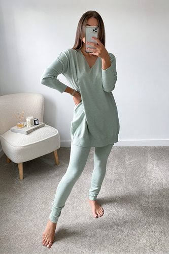 ANDREA Sage Longsleeve Split Side Loungwear set