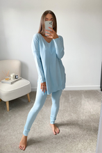 Load image into Gallery viewer, ANDREA Powder Blue Longsleeve Split Side Loungewear set