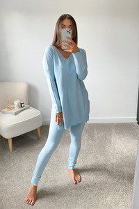 ANDREA Powder Blue Longsleeve Split Side Loungewear set