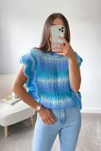 Load image into Gallery viewer, IRIS Blue Ruffle Trim Knit Vest