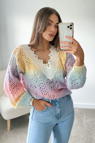 Cleo Multi Colour Knitted Wide Lace V Neck Jumper