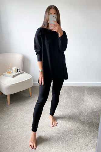 IEVA Black Longsleeve Split Side Loungewear set