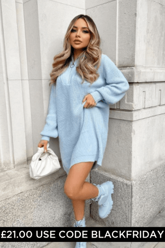 Elouise Powder Blue Zip up High Neck Jumper Dress