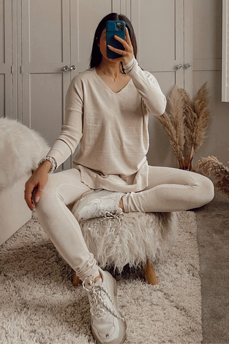 ANDREA Beige Longsleeve Split Side Loungewear set