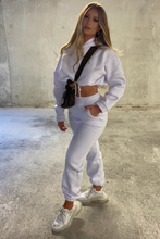 Load image into Gallery viewer, LARA White Hooded Crop Lounge Set