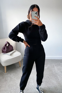 TIA Black Corset Detail Hooded Tracksuit