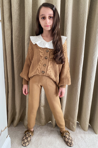 Mini CAPRI Chocolate Cable Knit Cardigan And Joggers Set