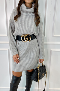 CINDY Grey Cowl Neck Jumper Dress