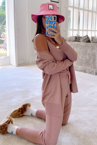 KIMMY Dusty Pink Knitted 3-piece Loungewear set