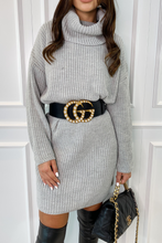Load image into Gallery viewer, CINDY Grey Cowl Neck Jumper Dress
