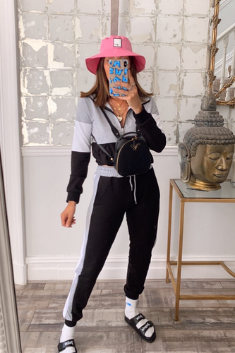 CHLOE Grey and Black Zip Detail Hooded Tracksuit