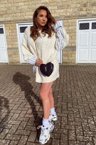 ALIYAH Cream Cable Knit Under Shirt Jumper Dress