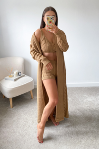 Myra Camel Cable Knitted short 3 piece loungeset