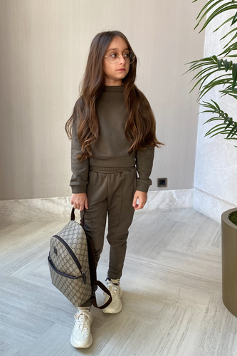 Mini SKYE Khaki High Neck Pin Stripe Jogger Loungewear