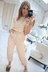 REECE Camel Shoulder pad Boxy Fit Loungewear Set