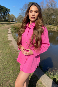 Sandie Pink Button Up Denim Dress