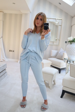 Load image into Gallery viewer, KOURTNEY Powder Blue Knitted V Neck Loungewear set