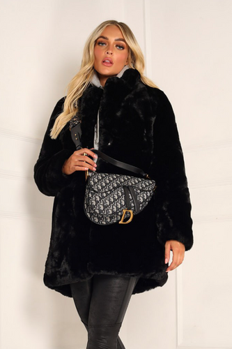 ELLE Black Faux Fur Coat
