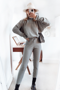 CHARLOTTE Grey Cable Knit Turtle Neck Loungewear Set