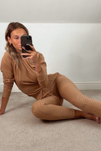 Load image into Gallery viewer, POLLY Camel Checked High Neck Fitted Loungewear Set