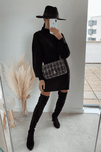 AMBER Black Turtle Neck Balloon Sleeves Jumper Dress