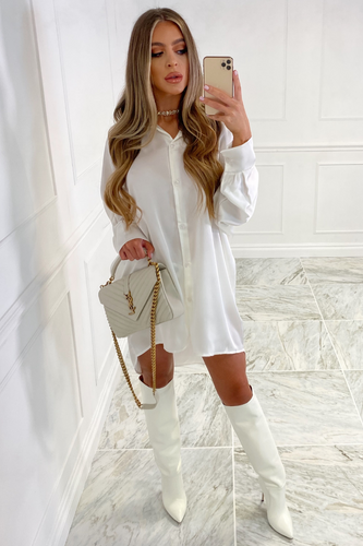 Shay White Button Up Oversized Shirt Dress