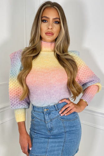 Ariel Multi Colour Cable Knit High Neck Jumper