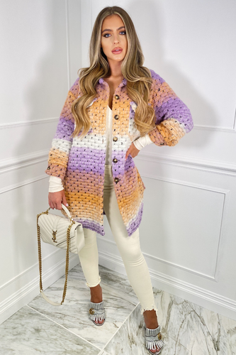 Kiara Lilac and Peach Knitted Button Up Long Shacket