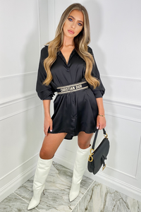 Shay Black Button Up Oversized Shirt Dress