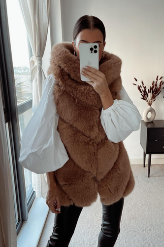 CLAUDETTE Camel Faux Fur Hooded Gilet