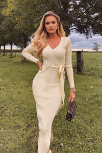 GINA Cream Long Sleeve V Neck Ribbed Dress