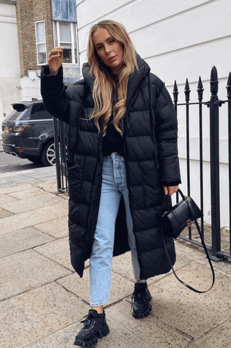 NICOLE Black Oversized Hooded Padded Coat