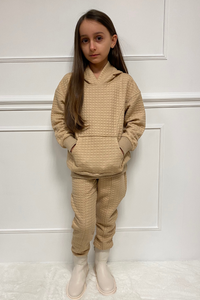 Mini COCO Camel Waffle Texture Hooded Loungewear Set