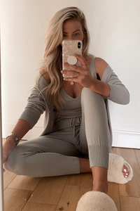 KIMMY Silver Knitted 3-piece Loungewear set