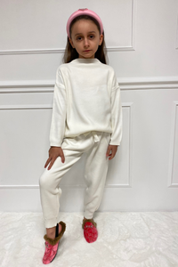 Mini MOLLY  Cream High Neck Fitted Loungewear Set