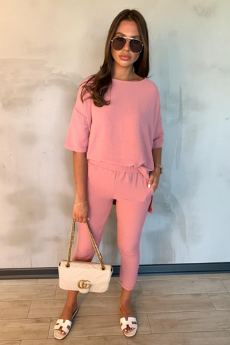 CHANTELLE Blush Pink Crushed Loungewear Set
