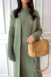 CARLA Mint Maxi Cardigan And Dress Knitted Set